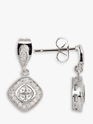 Ivory & Co. Regent Square Cubic Zirconia Pave Drop Earrings, Silver