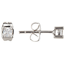 Buy Ivory & Co. Princess Cut Solitaire Cubic Zirconia Stud Earrings, Clear Online at johnlewis.com