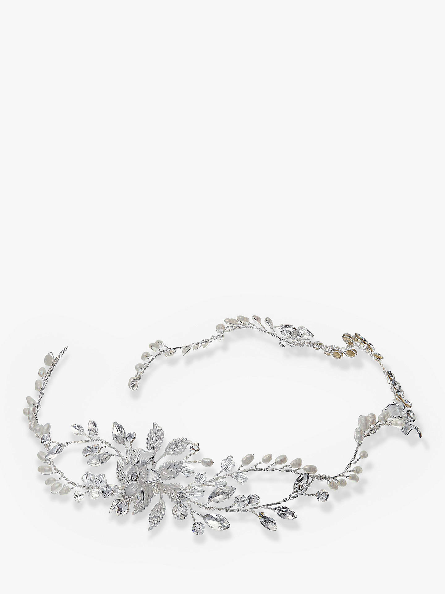 ivory & co. moonflower freshwater pearl and cubic zirconia flower hair vine, silver