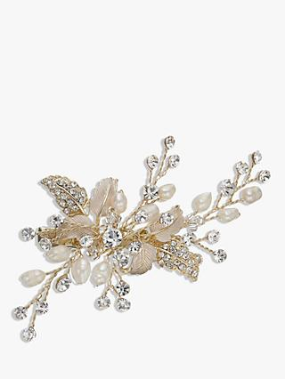 Ivory & Co. Honeyblossom Crystal and Freshwater Pearl Hair Slide, Gold
