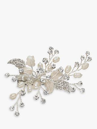 Ivory & Co. Orchid Small Flower Crystal and Freshwater Pearl Hair Slide, Silver