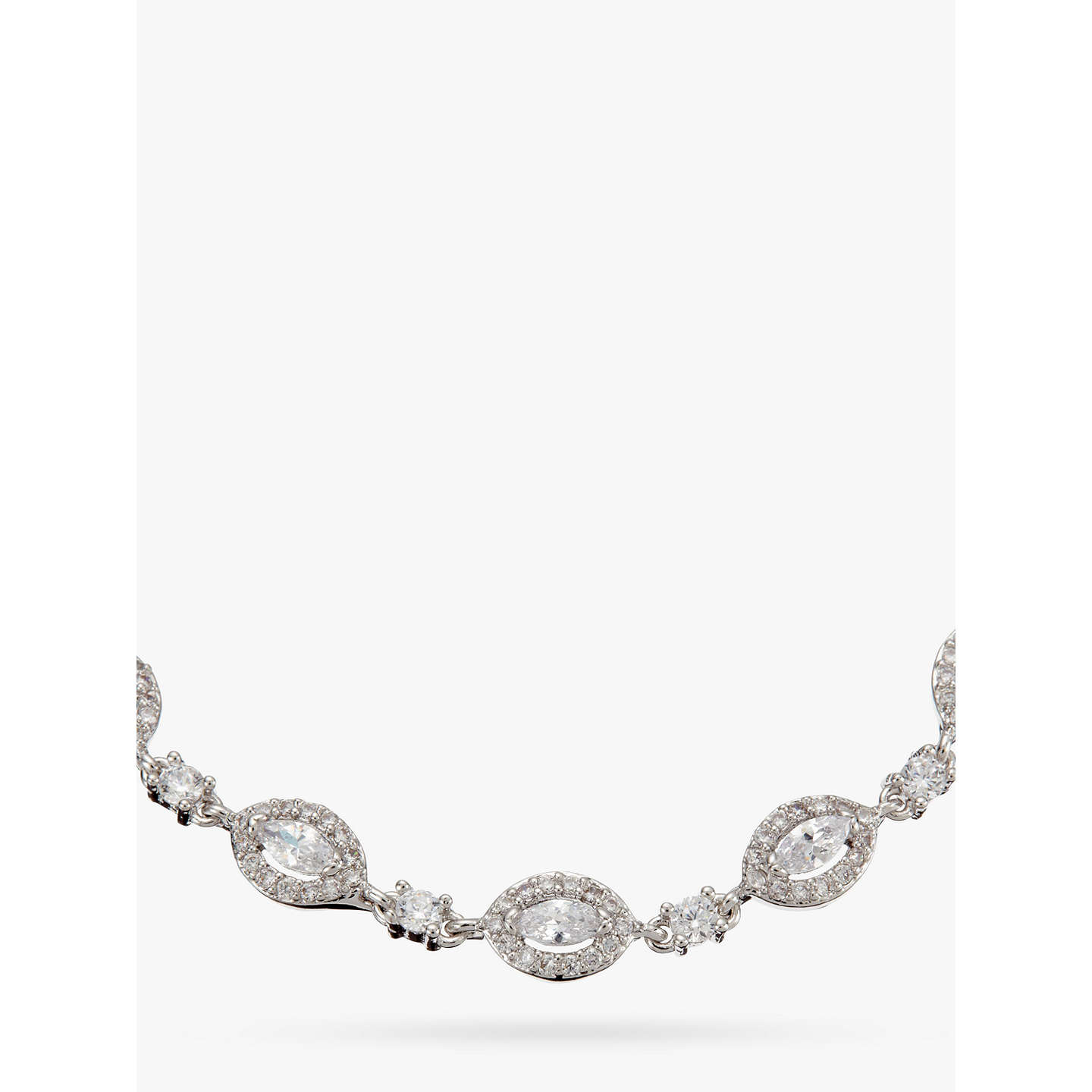 BuyIvory & Co. Parisian Oval Cubic Zirconia Pave Bracelet, Silver Online at johnlewis.com