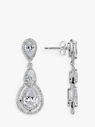Ivory & Co. Illuminate Triple Teardrop Cubic Zirconia Drop Earrings, Silver