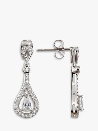 Ivory & Co. Timeless Cubic Zirconia Pave Drop Earrings, Silver
