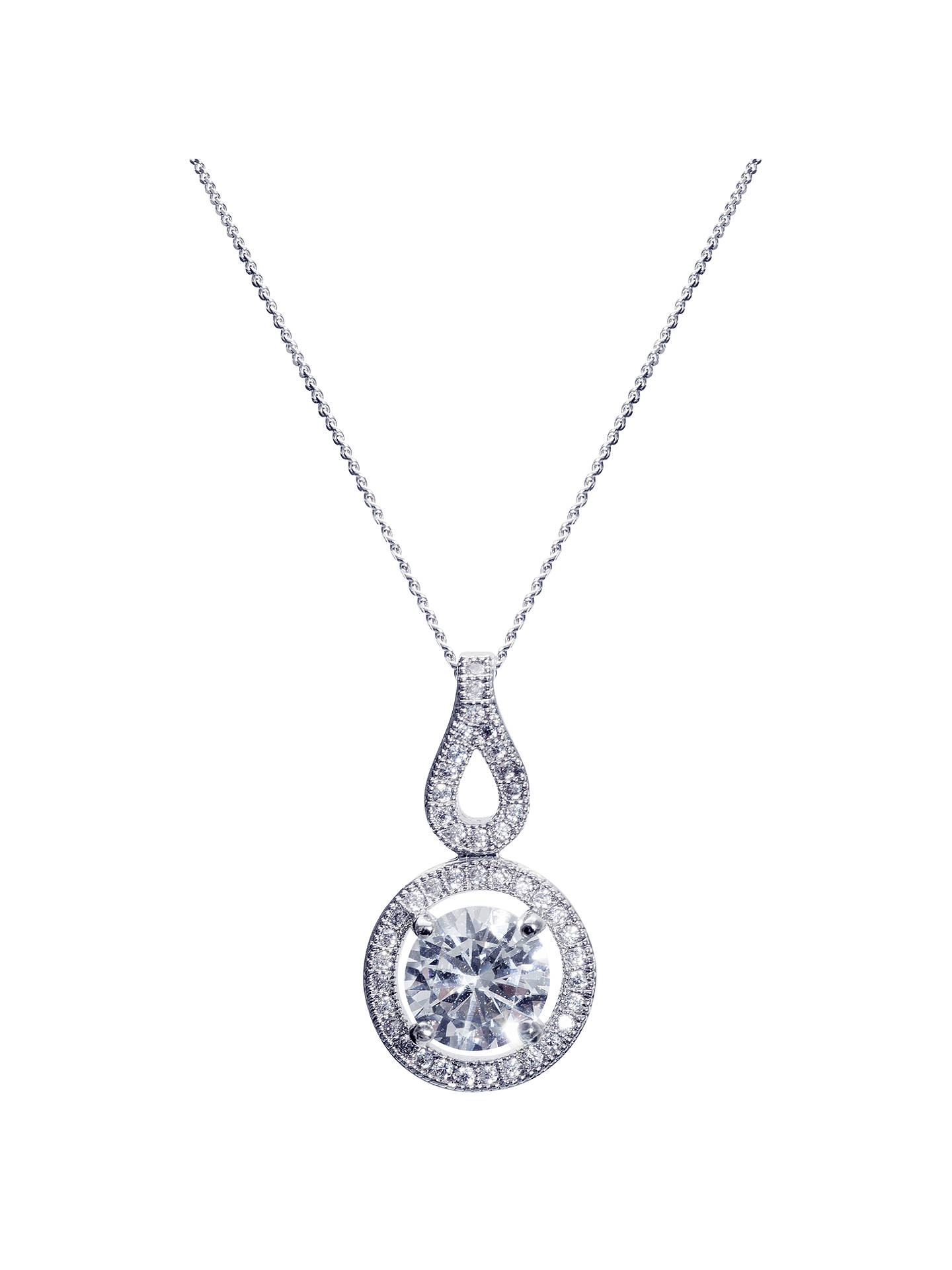 BuyIvory & Co. Heritage Round Cubic Zirconia Pave Drop Pendant Necklace, Silver Online at johnlewis.com