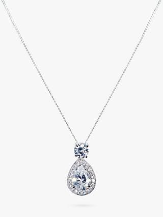 Ivory & Co. Limelight Teardrop Cubic Zirconia Pave Pendant Necklace, Silver