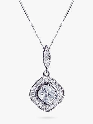 Ivory & Co. Regent Square Cubic Zirconia Pave Pendant Necklace, Silver