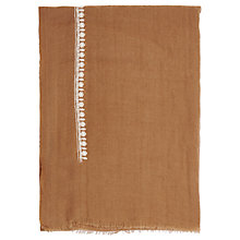 Buy French Connection Dream Embroidered Wool Scarf, Terra Tan/Cream Online at johnlewis.com