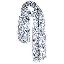 Buy Fat Face Woodblock Sequin Scarf, White/Navy Online at johnlewis.com