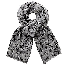 Buy John Lewis Meadow Floral Print Scarf, Grey/Black Online at johnlewis.com