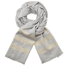 Buy John Lewis 4 Stripe Metallic Scarf, Grey/Gold Online at johnlewis.com