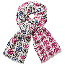 Buy John Lewis Amazing Elephants Print Cotton Twill Scarf, Pink Mix Online at johnlewis.com
