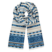 Buy AND/OR Stripe Embroidery Cotton Scarf, Blue Mix Online at johnlewis.com