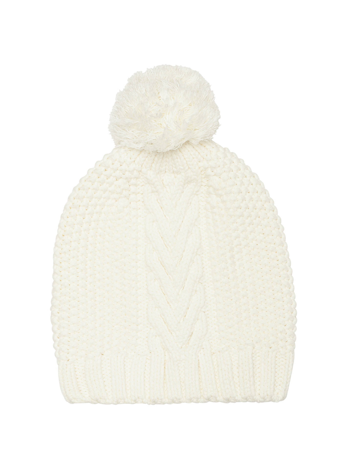 Buy John Lewis & Partners Purl Stitch Cable Beanie Hat, Cream Online at johnlewis.com