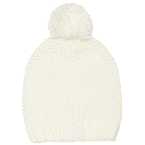 Buy John Lewis Purl Stitch Cable Beanie Hat, Cream Online at johnlewis.com
