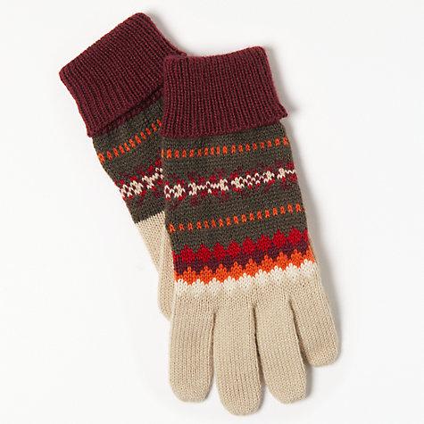 Buy John Lewis Sweet Fair Isle Gloves, One Size, Red Mix | John Lewis