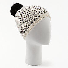 Buy John Lewis Two Tone Chunky Beanie, Cream Online at johnlewis.com