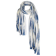 Buy Fat Face Textured Stripe Scarf, Blue/White Online at johnlewis.com