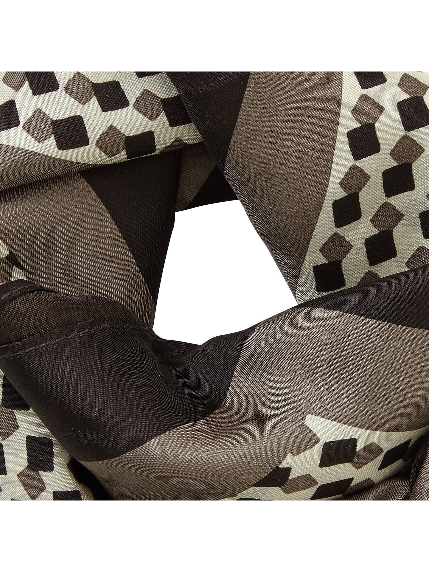 John Lewis Animal Print Silk Square Scarf, Taupe at John Lewis ...