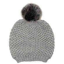 Buy John Lewis Chunky Lovely Pom Pom Beanie Hat, Light Grey Online at johnlewis.com