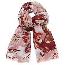Buy John Lewis Giant Floral Print Scarf, Claret/Multi Online at johnlewis.com