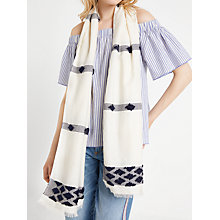 Buy AND/OR Bobble Textured Diamond Motif Scarf, Navy/Ivory Online at johnlewis.com