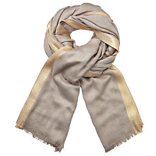 Buy John Lewis Metallic Border Scarf, Taupe/Gold Online at johnlewis.com