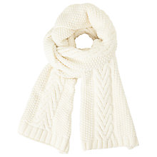 Buy John Lewis Purl Stitch Cable Scarf, Cream Online at johnlewis.com