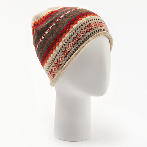 Buy John Lewis Sweet Fair Isle Beanie, Red Mix | John Lewis