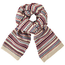 Buy John Lewis Textured Pattern Scarf, Red Mix Online at johnlewis.com