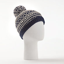 Buy John Lewis Loopey Textured Hat, Navy/White Online at johnlewis.com