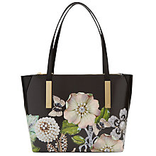 Buy Ted Baker Agatha Gem Gardens Leather Small Shopper Bag, Black Online at johnlewis.com