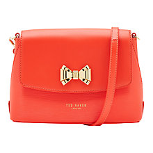 Buy Ted Baker Tessi Curved Bow Leather Across Body Bag, Bright Orange Online at johnlewis.com