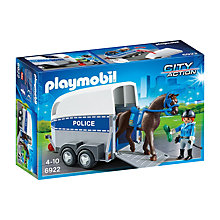 Buy Playmobil City Action Police Horse and Trailer Online at johnlewis.com