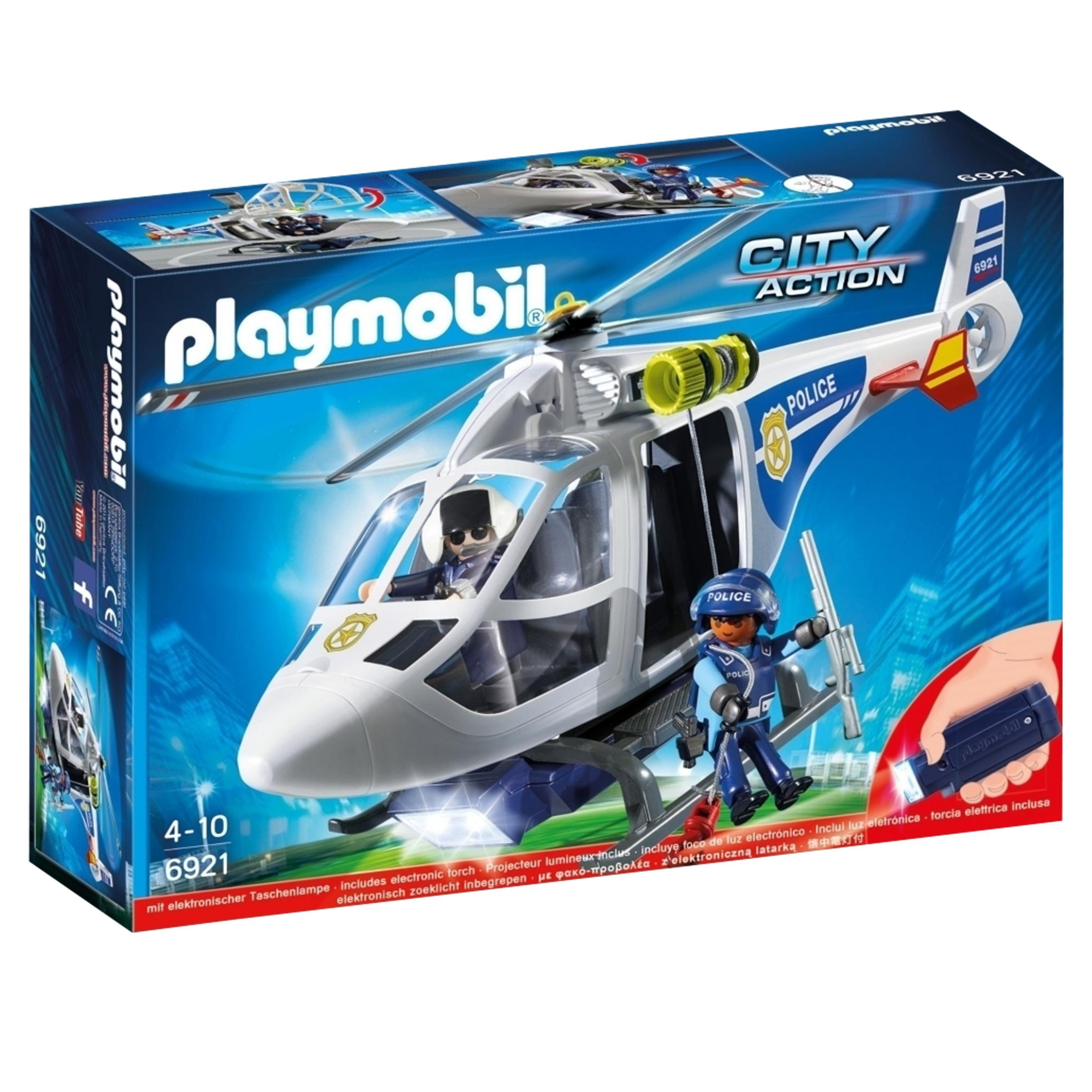 PLAYMOBIL Playmobil Police Helicopter with LED Searchlight
