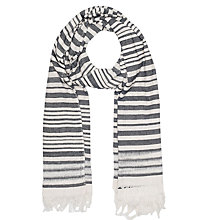 Buy French Connection Deana Stripe Cotton Scarf, Summer White/Black Online at johnlewis.com