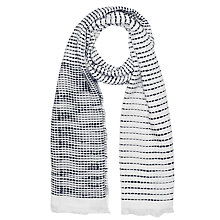 Buy French Connection Dallas Stabstitch Scarf, White/Utility Blue Online at johnlewis.com