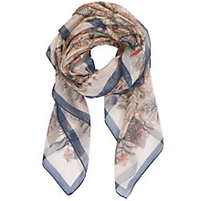 Buy Chesca Butterfly And Leaf Printed Scarf, Ivory/Blue Online at johnlewis.com