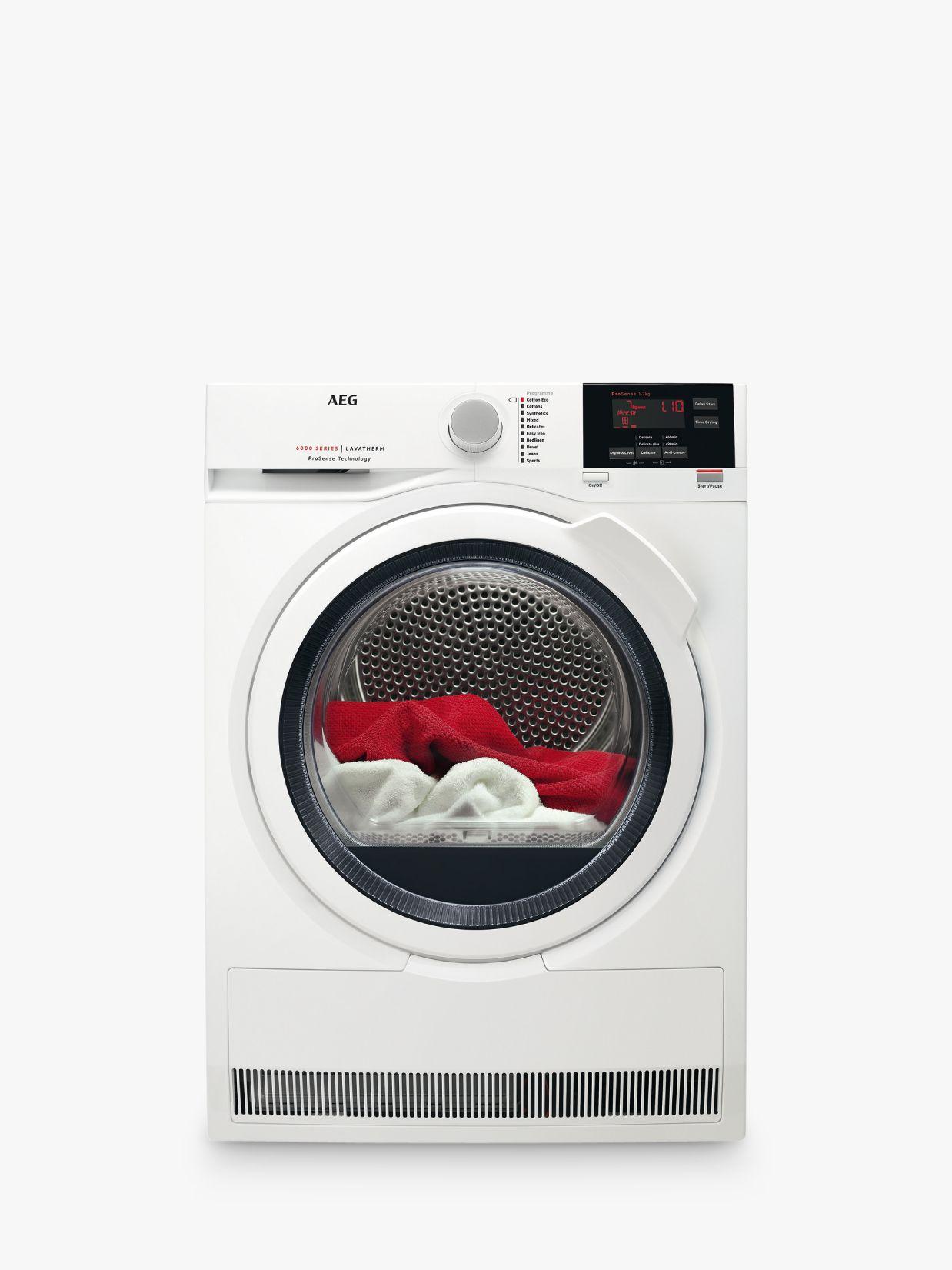 AEG AEG T6DBG721N 6000 Series Condenser Tumble Dryer, 7kg load, B Energy Rating, White