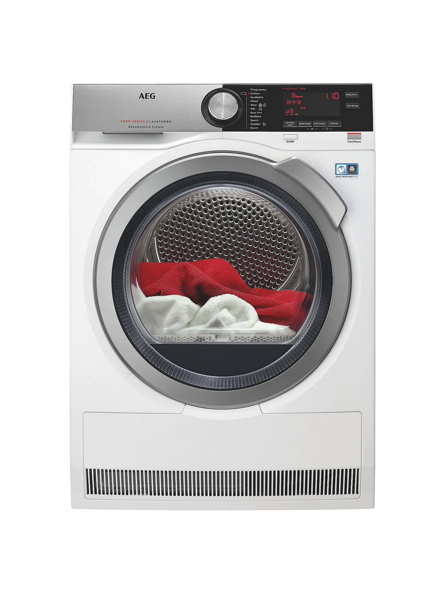 BuyAEG T8DEC846R  8000 Series Heat Pump Tumble Dryer, 8kg Load, A++ Energy Rating, White Online at johnlewis.com