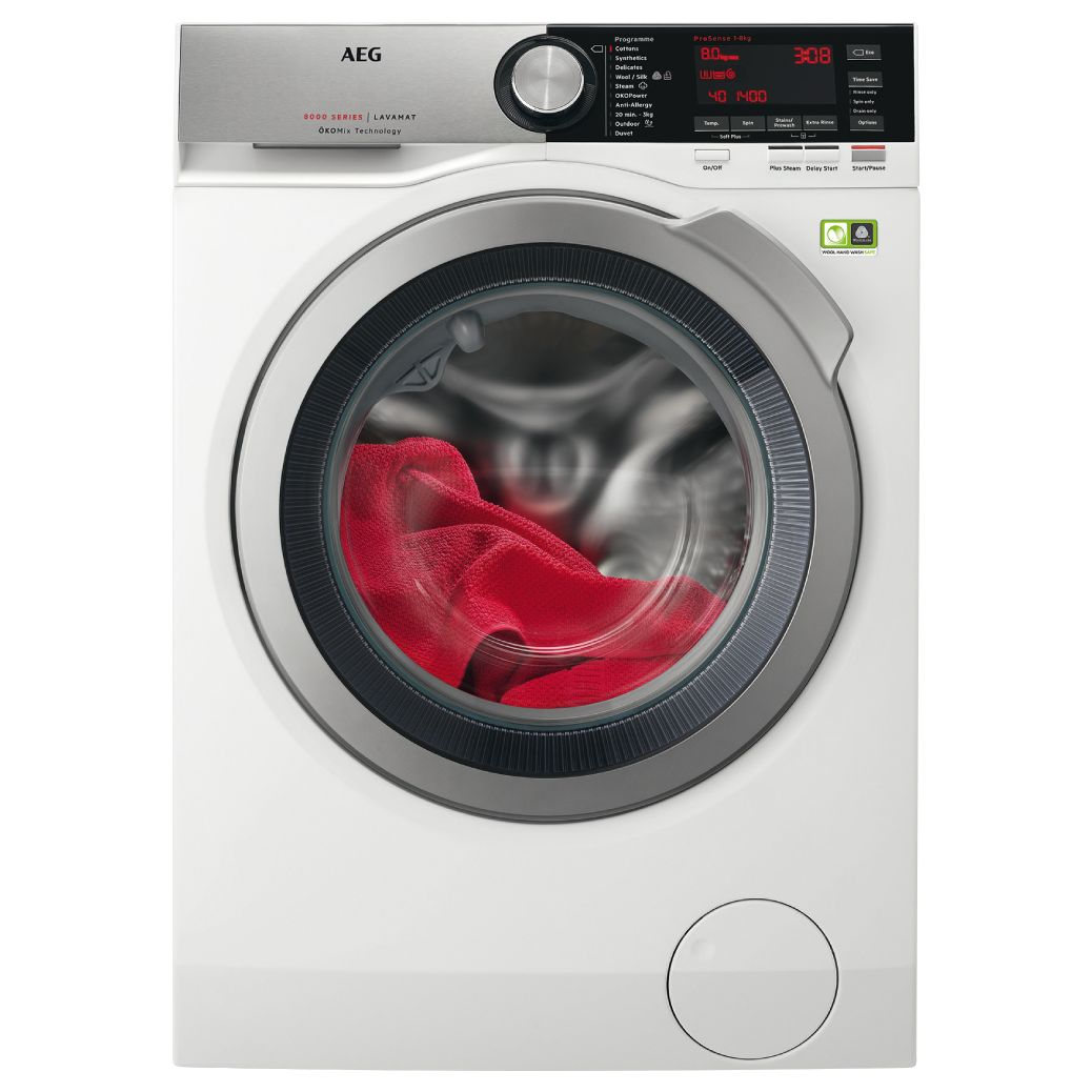 AEG AEG ProSteam Technology L8FEC846R Freestanding Washing Machine, 8kg load, A+++ Energy Rating, 1400rpm, White