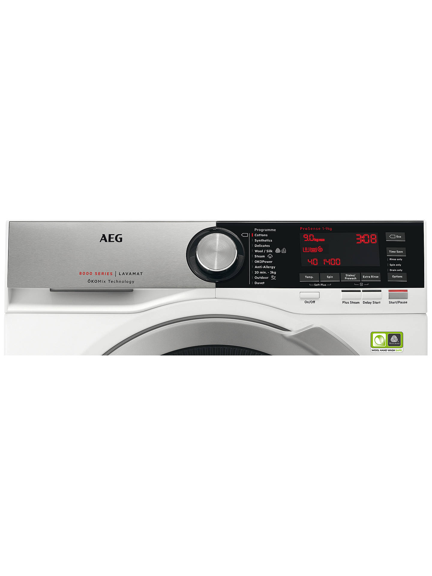 BuyAEG L8FEC966R Freestanding Washing Machine, 9kg load, A+++ Energy Rating, 1600rpm, White Online at johnlewis.com