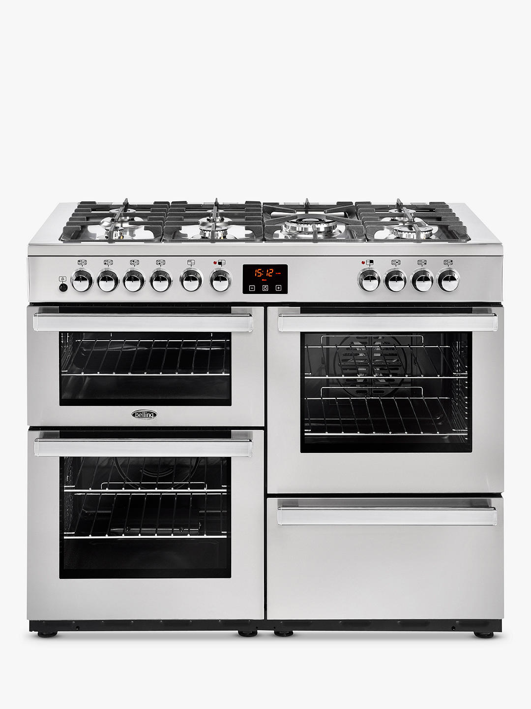 Buy Belling Cookcentre 110DFT Dual Fuel Range Cooker, Stainless Steel Online at johnlewis.com