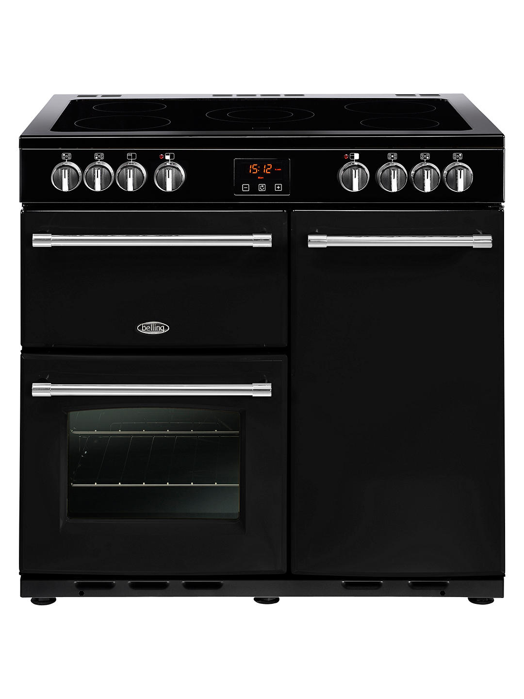 Buy Belling Farmhouse 90E Electric Range Cooker with Ceramic Hob, Black Online at johnlewis.com