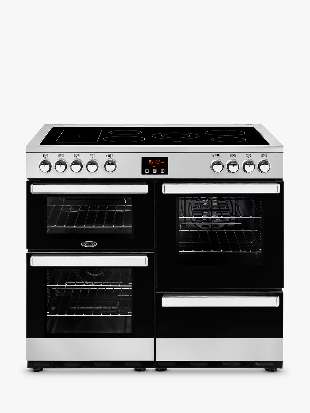 Buy Belling Cookcentre 100E Electric Range Cooker with Ceramic Hob, Stainless Steel / Black Online at johnlewis.com