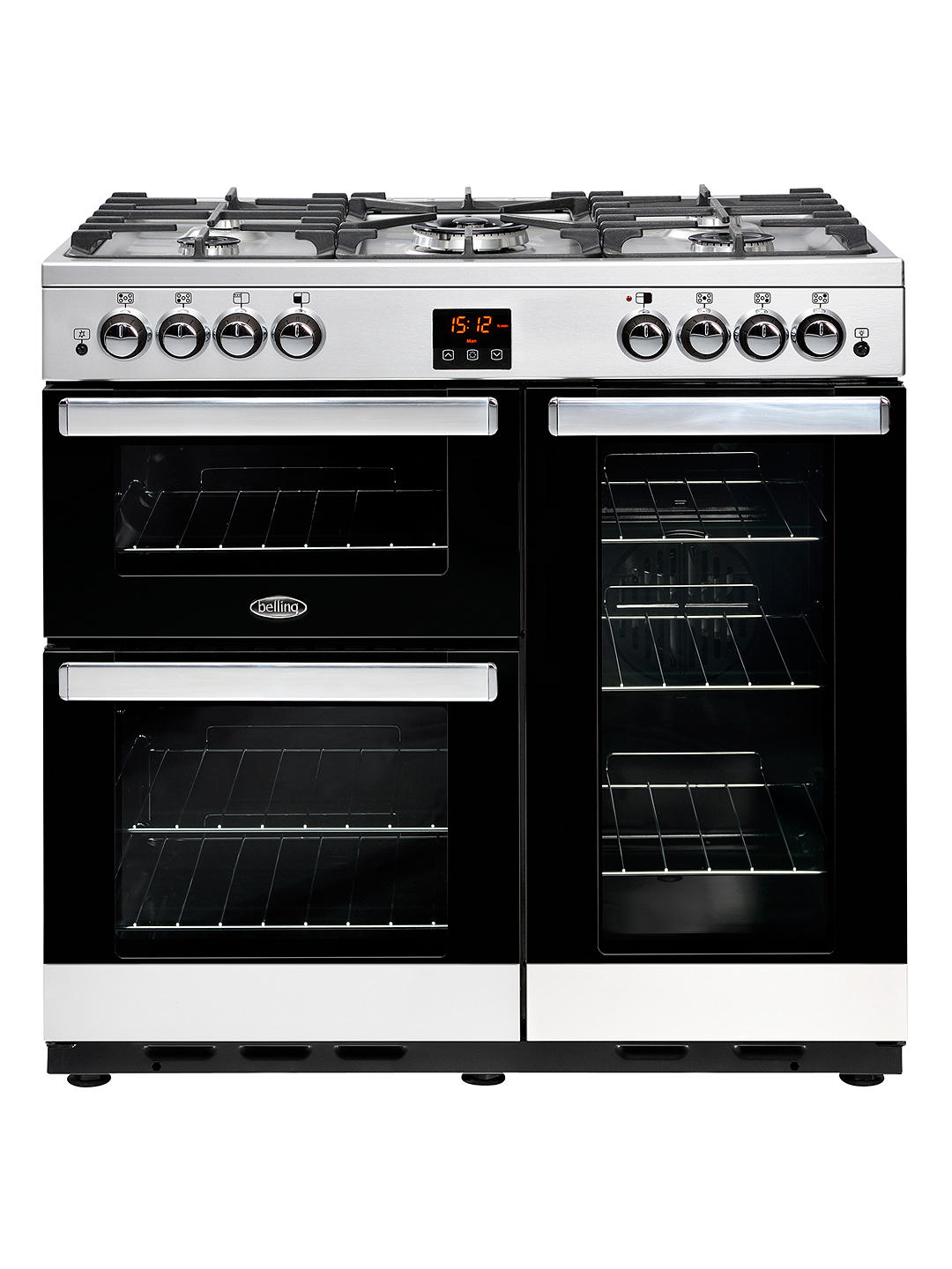 Buy Belling Cookcentre 90G Gas Range Cooker, Stainless Steel / Black Online at johnlewis.com