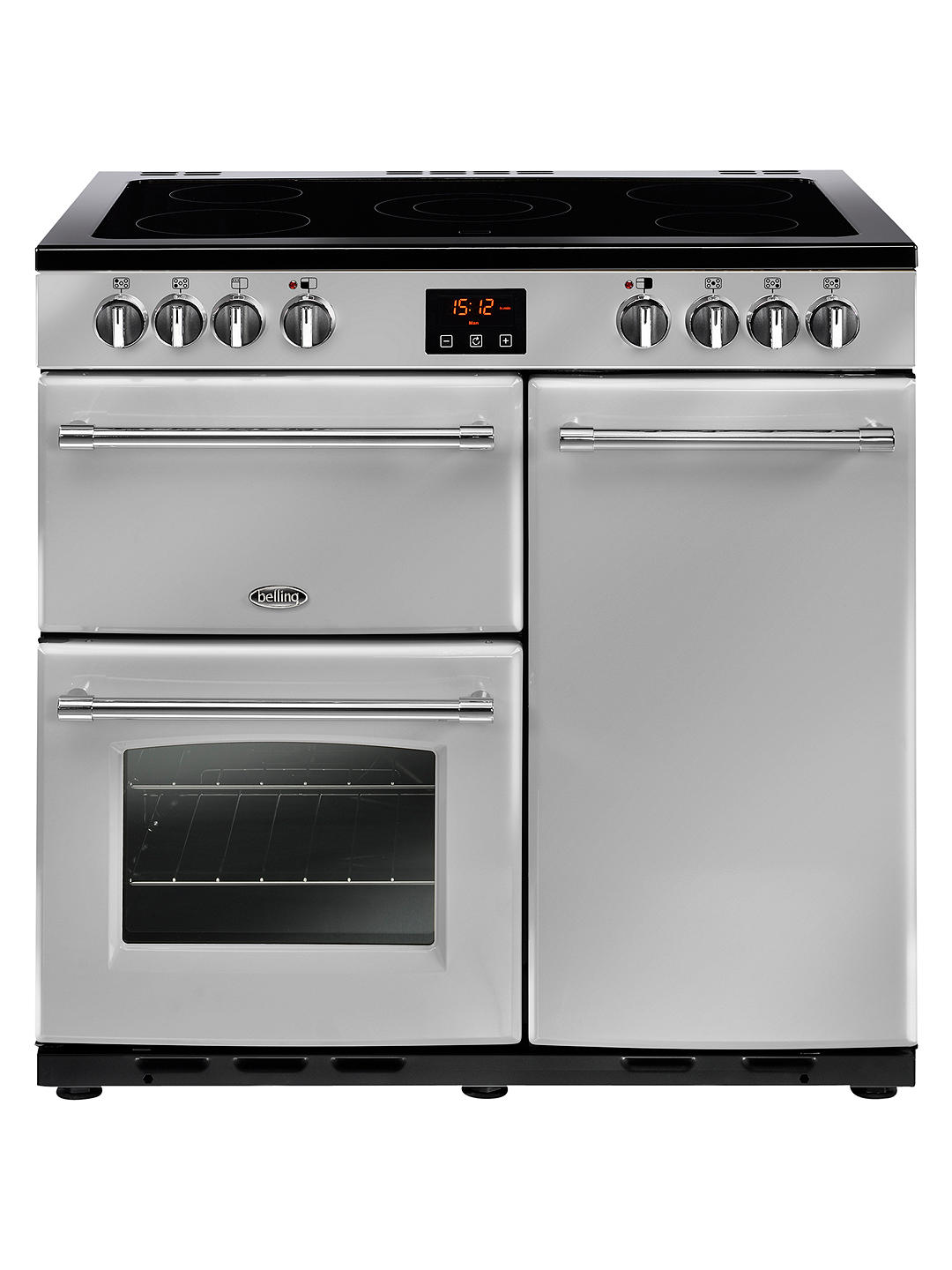 Buy Belling Farmhouse 90E Electric Range Cooker with Ceramic Hob, Silver Online at johnlewis.com