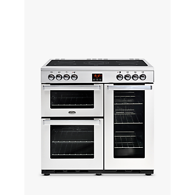 Belling Cookcentre 90E Electric Range Cooker With Ceramic Hob, Stainless Steel