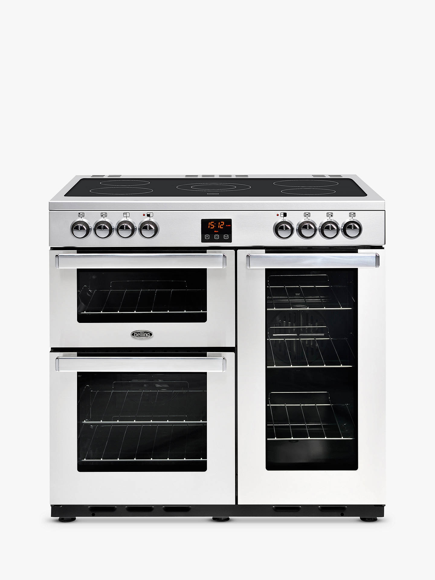 BuyBelling Cookcentre 90E Electric Range Cooker With Ceramic Hob, Stainless Steel Online at johnlewis.com