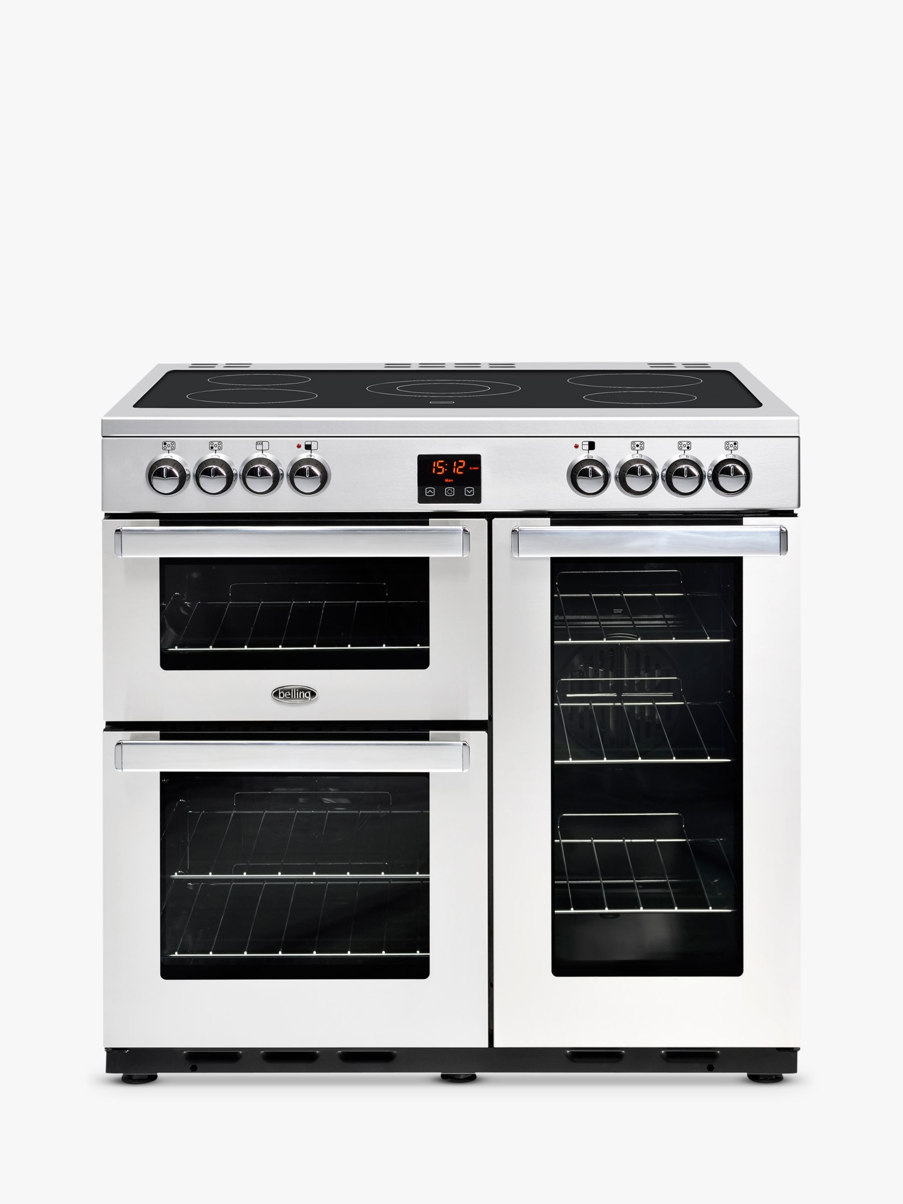 Belling Belling Cookcentre 90E Electric Range Cooker With Ceramic Hob, Stainless Steel